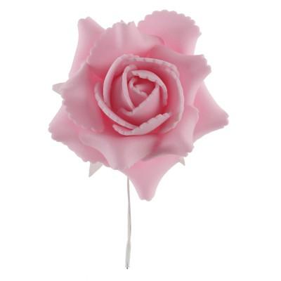 rose sur tige coloris rose en sachet de 4 pièces