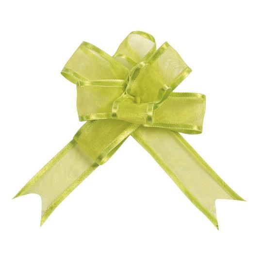 Noeud à tirer organza vert 20 mm