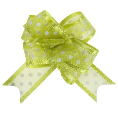 Noeud à tirer vert motif pois 16 mm