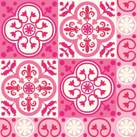 Serviette jetable Paviot imprimé carreaux de ciment rose fuchsia