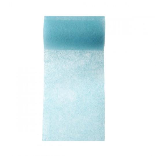 Ruban large intissé bleu turquoise.
