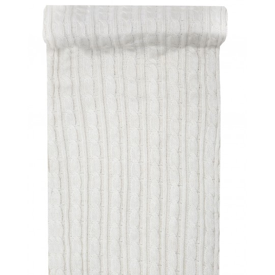 Chemin de table tricot blanc 20 CM X 3M.
