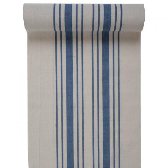 Chemin de table décor torchon bleu.
