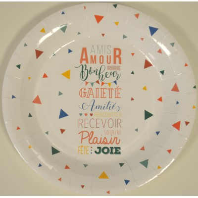 Assiettes message jetable