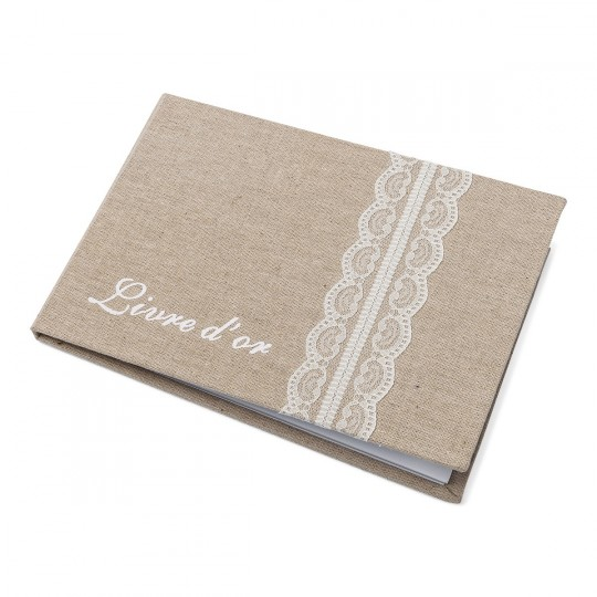 Livre d'or intemporel lin et dentelle 24 x 16,5 cm.