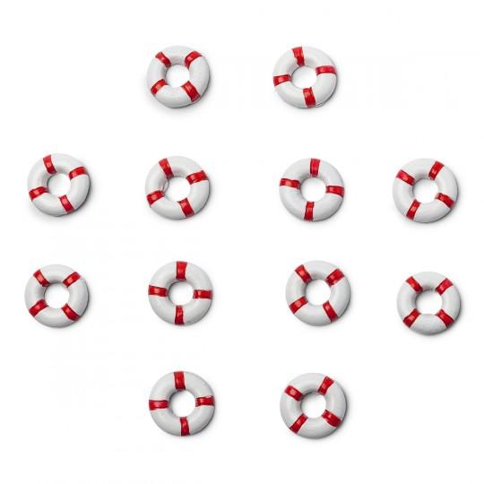 12 Bouées de sauvetage rouges et blanches Ø 2 cm