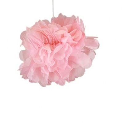 2 Pompons papier de soie rose 50 & 40 cm