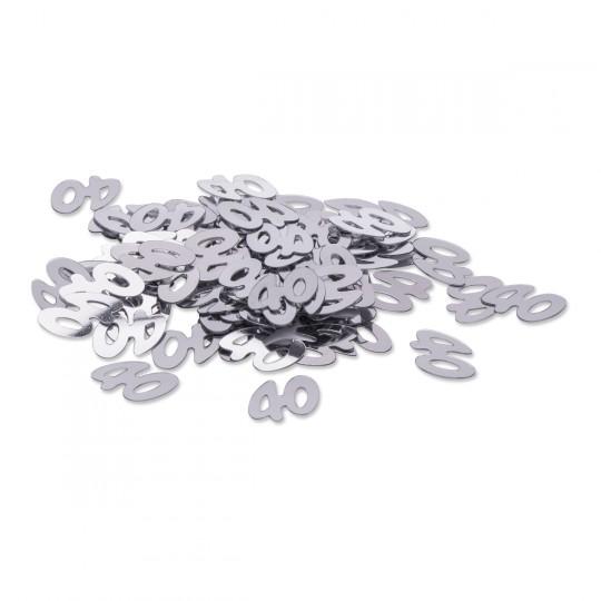 """Sachet confettis de table """"40"""" argent 1 cm"""