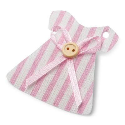 6 étiquettes robe layette lin & rose perforées 5 cm.