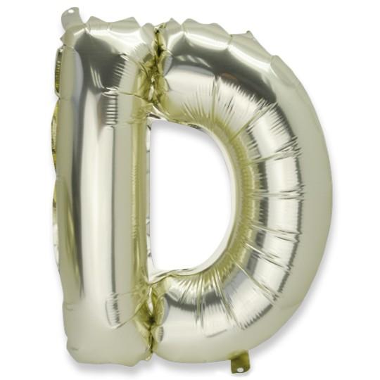 Ballon métal or lettre D 36 cm