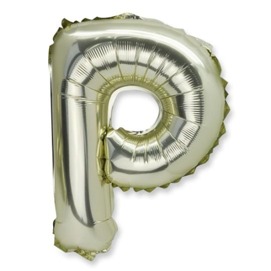 Ballon métal or lettre P 36 cm
