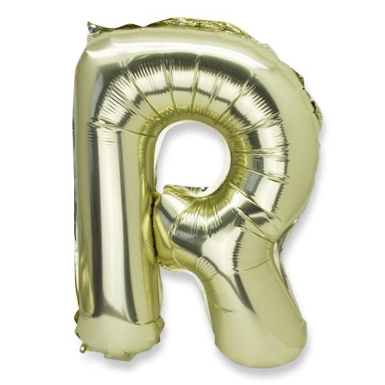 Ballon métal or lettre R 36 cm