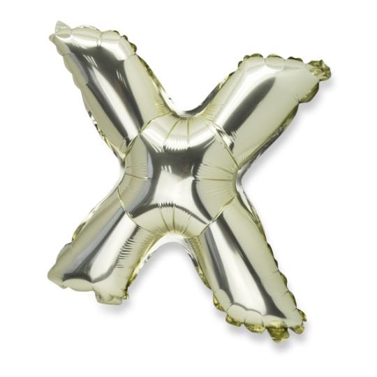 Ballon métal or lettre X 36 cm