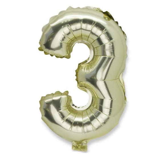 Ballon métal or chiffre 3