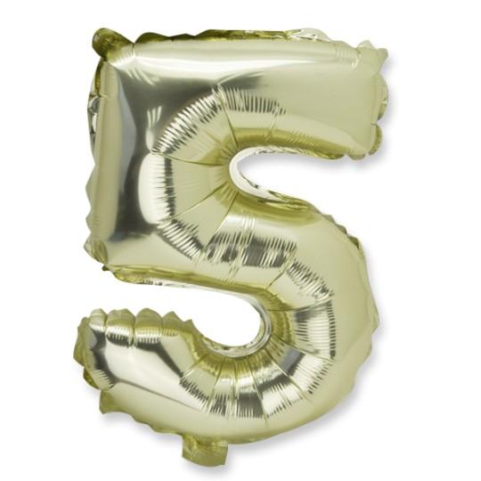 Ballon métal or chiffre 5
