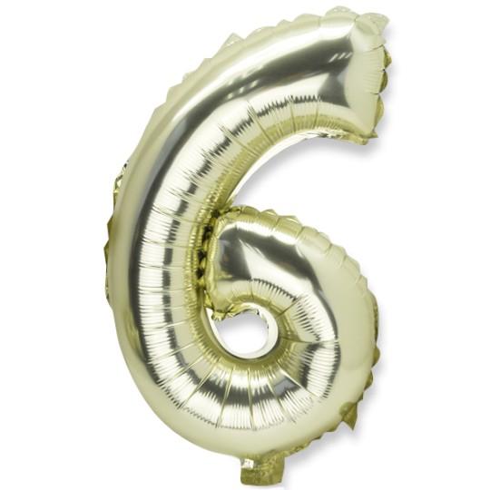 Ballon métal or chiffre 6