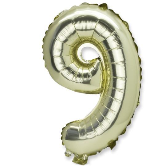 Ballon métal or chiffre 9
