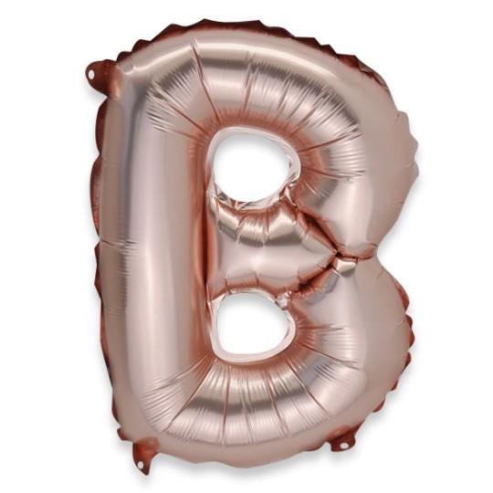 Ballon métal rose gold cuivre lettre B 36 cm