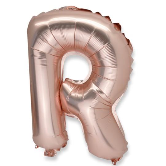 Ballon métal rose gold lettre R 36 cm