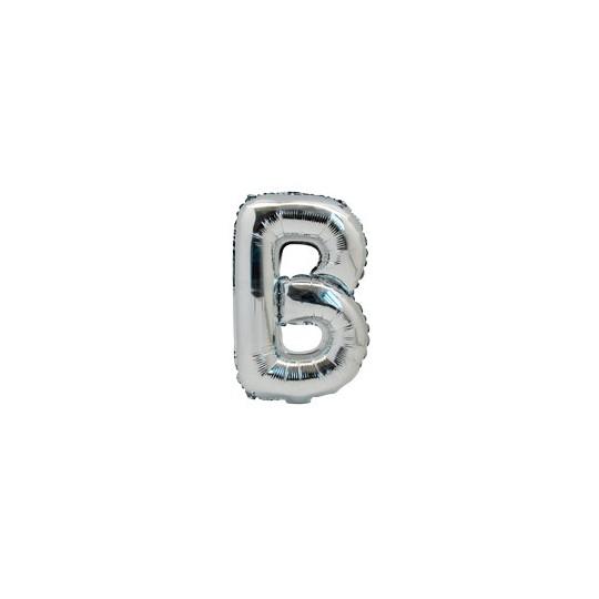 Ballon métal argent lettre B 36 cm.