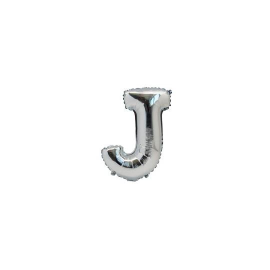 Ballon métal argent lettre J 36 cm