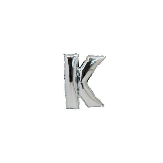 Ballon métal argent lettre K 36 cm