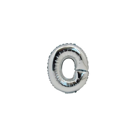 Ballon métal argent lettre O 36 cm