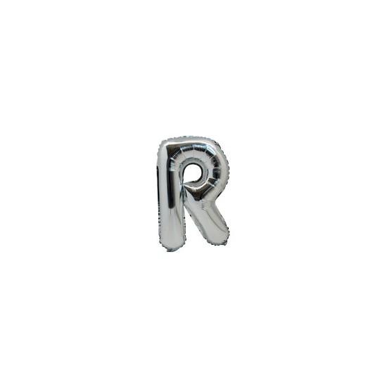 Ballon métal argent lettre R 36 cm