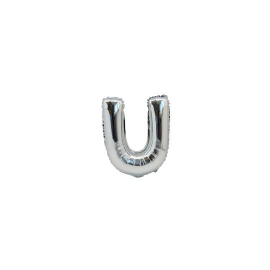 Ballon métal argent lettre U 36 cm