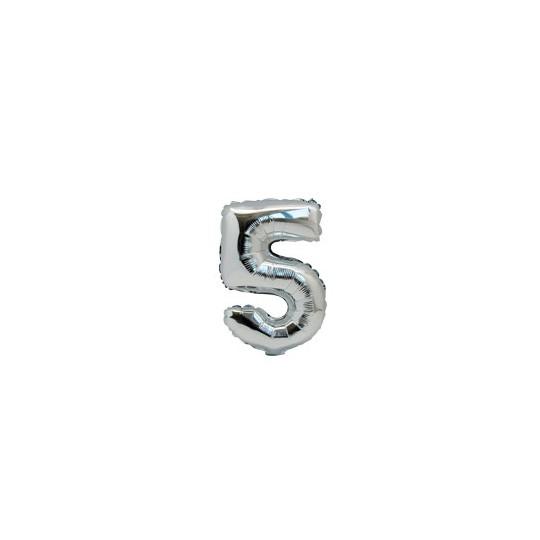 Ballon métal argent chiffre 5