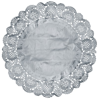 Set de table napperon dentelle argent Ø 34cm