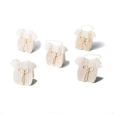 5 contenants barboteuse lin aux motifs assortis.
