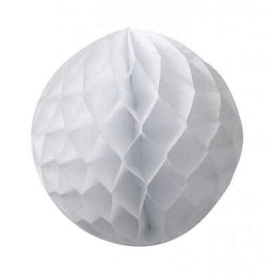 Boule en papier alvéolé blanc.