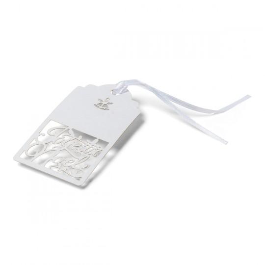 10 Marques place ou étiquettes cadeaux blanc irisé Joyeux Noël