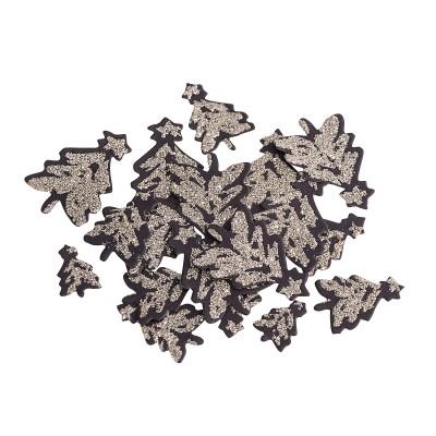 100 confettis de table sapin noir et paillettes.