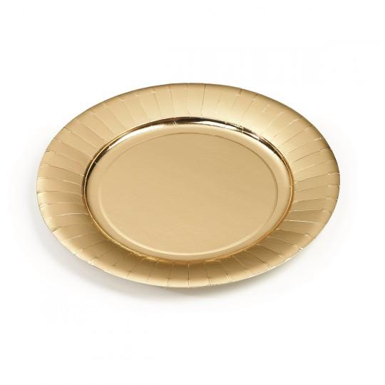 Assiettes carton or jetable Ø 18 cm