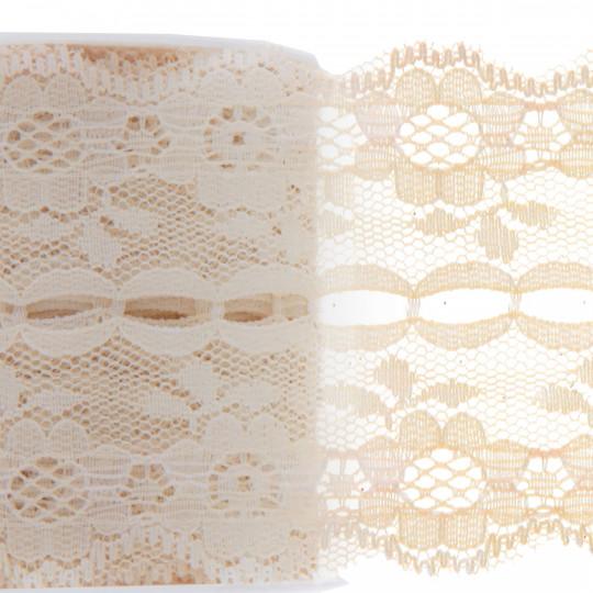Ruban dentelle ivoire, polyester de 3 mètres x 50 mm