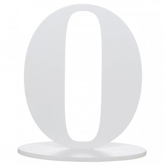 Marque place blanc en bois chiffre 0