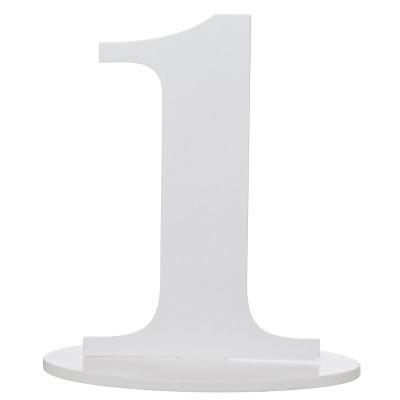 Marque place blanc en bois chiffre 1