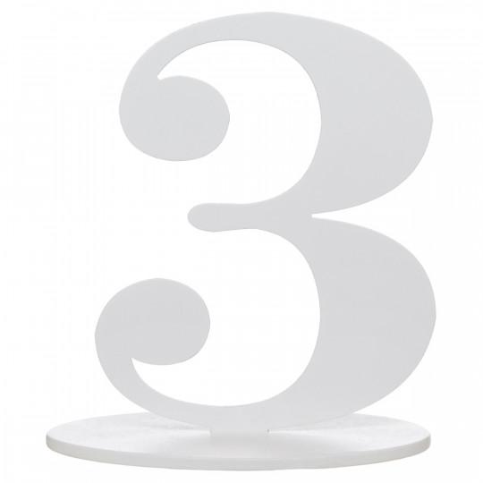 Marque table bois blanc chiffre N°3