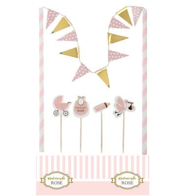 Kit pour déco de gâteau Baby-Shower rose
