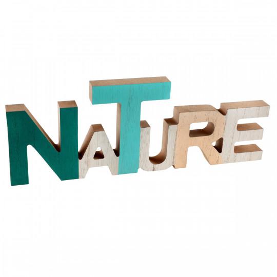 Lettre NATURE en bois vert et naturel.