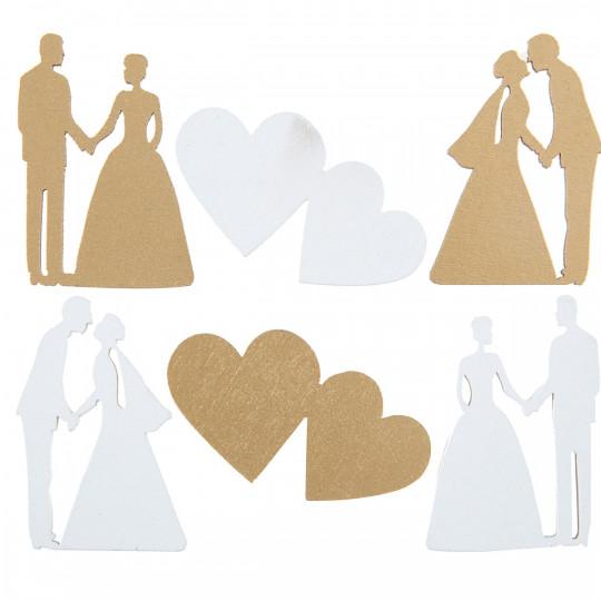 Assortiment Just Married en bois blanc et or.