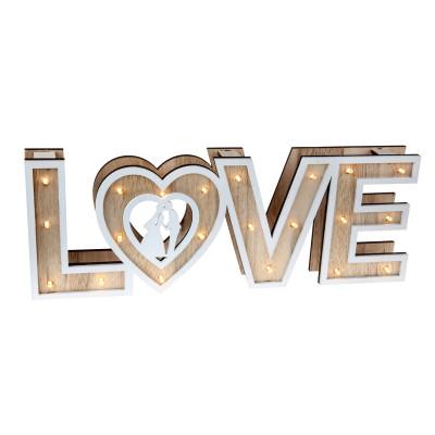 Lettres LOVE lumineuses en bois naturel.