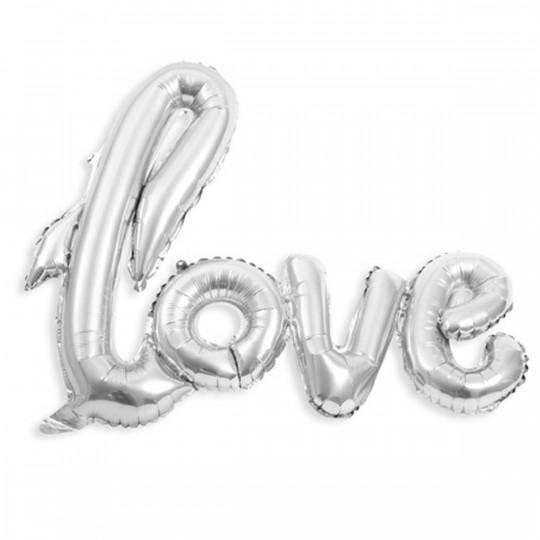 Ballon métal argent Love