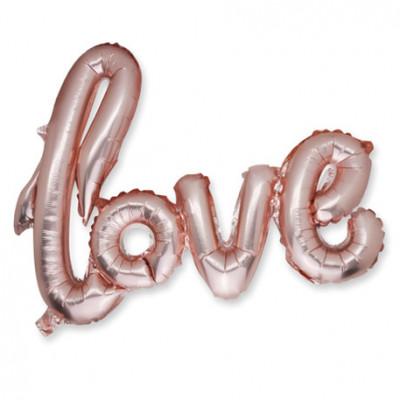Ballon métal rose gold Love