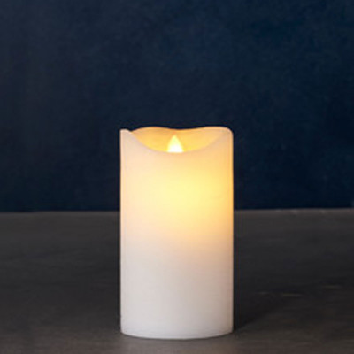 Pilier bougie 12.5 cm en cire naturelle éclairage à leds