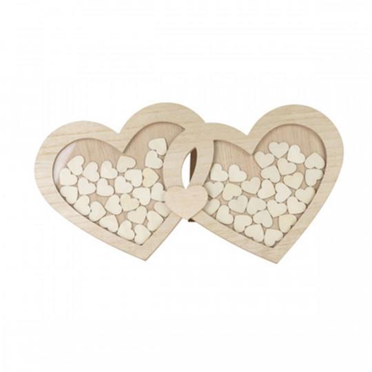 Livre d'or double coeur en bois avec 60 coeurs.