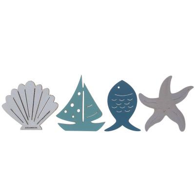 Assortiment 18 pièces bord de mer en bois.