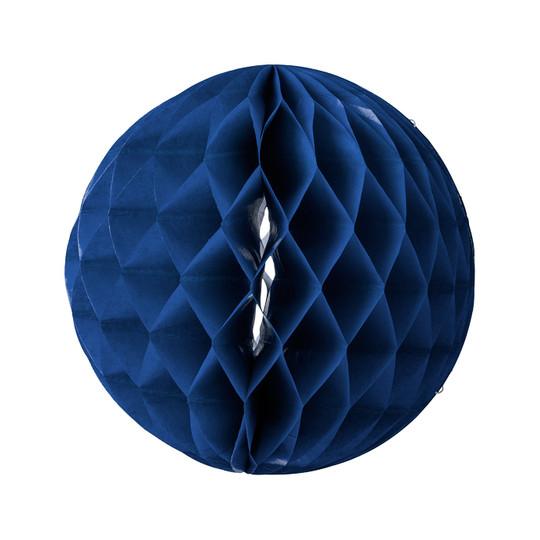 3 Boules en papier alvéolé bleu marine.
